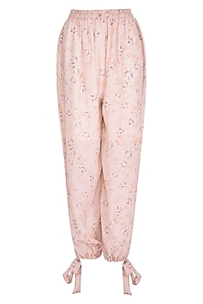 Baby Pink Printed Pants by Meadow