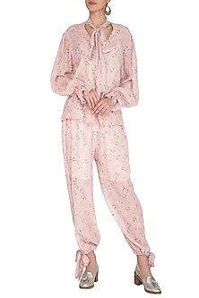 Baby Pink Printed Pants by Meadow