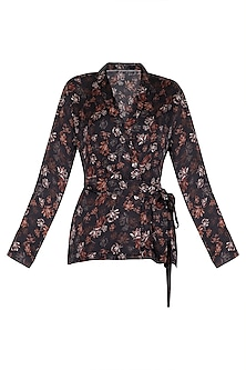 Midnight Blue Printed Jacket With Belt by Meadow