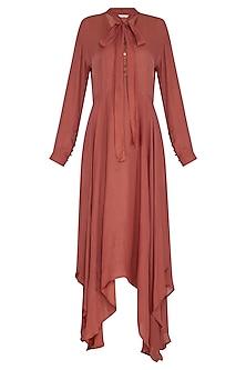 Terra Cotta Brown Asymmetric Dress by Meadow
