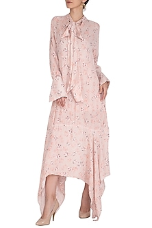 Baby Pink Printed Midi Dress by Meadow