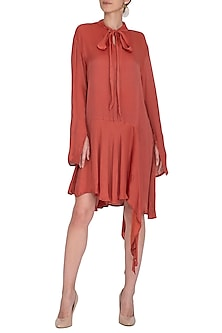 Ruby Red Asymmetrical Dress by Meadow