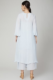 Sky Blue Aari Embroidered Kurta With Pants by Meadow