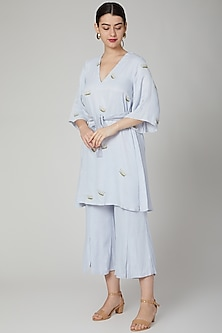 Sky Blue Embroidered Kurta With Pants by Meadow
