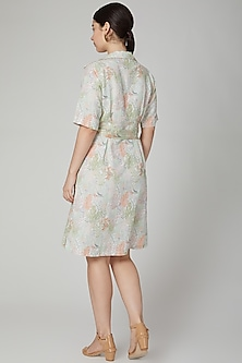 Mint Green Printed Linen Dress by Meadow