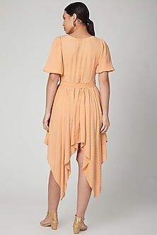 Peach Bloom Dress With Belt by Meadow