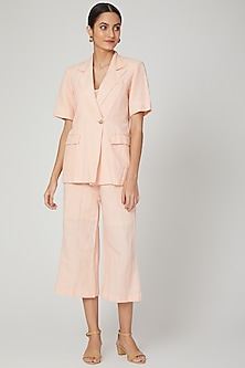 Peach Sunkissed Linen Jacket by Meadow