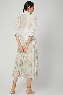 Mint Green Floral Printed Skirt by Meadow