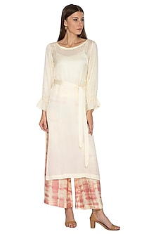 Yellow Tie-Dye Pants With Tunic, Inner & Belt by Meadow
