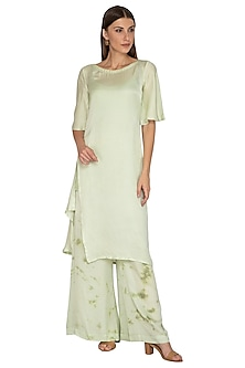 Mint Green Tie-Dye Pants With Tunic & Inner by Meadow