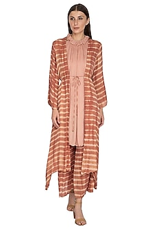 Blush Pink Dyed Jacket With Pants & Tunic by Meadow