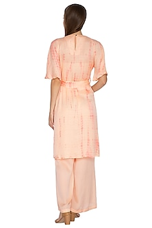 Coral Tie-Dye Tunic With Pants & Belt by Meadow
