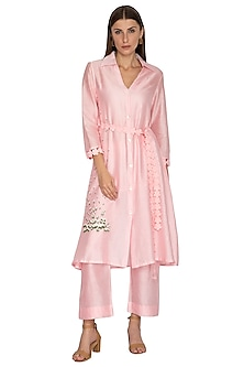 Blush Pink Embroidered Tunic With Pants, Inner & Belt by Meadow