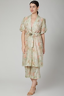 Mint Green Floral Printed Long Jacket by Meadow