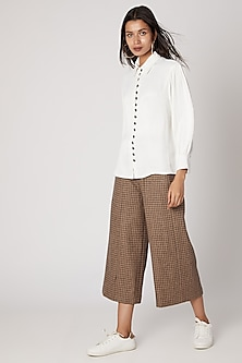 White Button-Up Viscose Top by Meadow