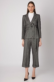 Black Checkered Tweed Jacket With Buckle Belt by Meadow