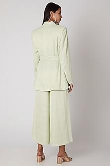 Mint Green Meadow Mist Jacket With Buckle Belt by Meadow
