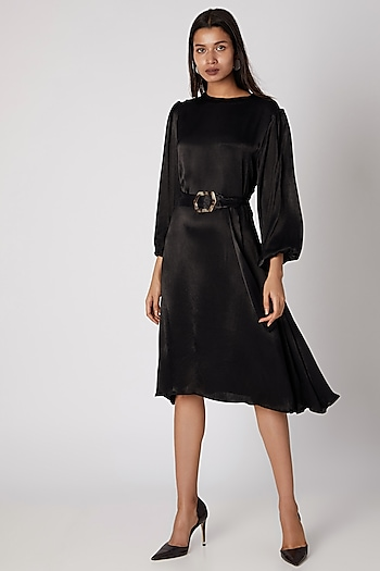 Black Silk Viscose Midi Dress With Buckle Belt by Meadow