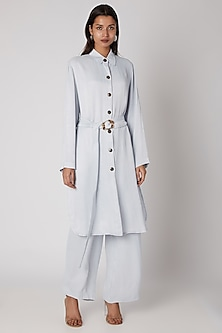 Sky Blue Viscose Dress With Buckle Belt by Meadow