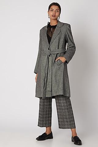 Black Herringbone Wool Tweed Coat by Meadow