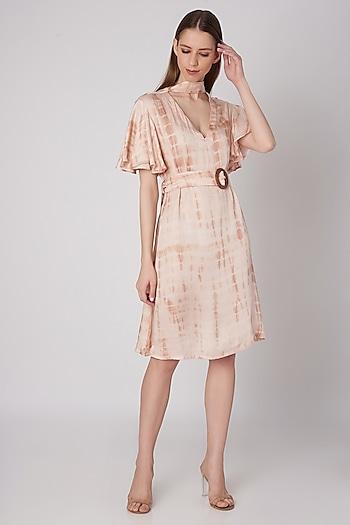 Blush Pink Tie-Dye Silk Dress by Meadow