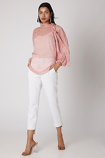 Blush Pink Silk Chiffon Sheer Top by Meadow