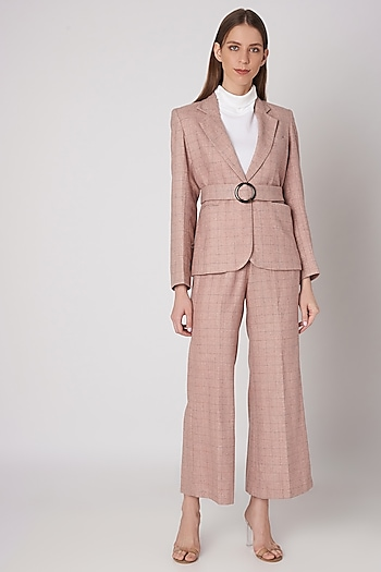 Blush Pink Tweed Jacket With Wooden Buckle Belt by Meadow