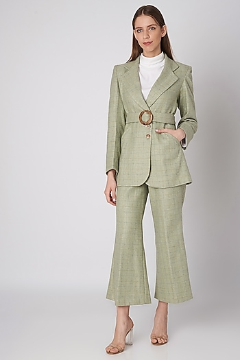 Mint Green Tweed Jacket With Wooden Buckle Belt by Meadow