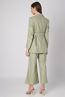 Mint Green Tweed Jacket With Wooden Buckle Belt by Meadow