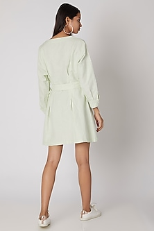 Mint Green Mini Dress With Buckle Belt by Meadow