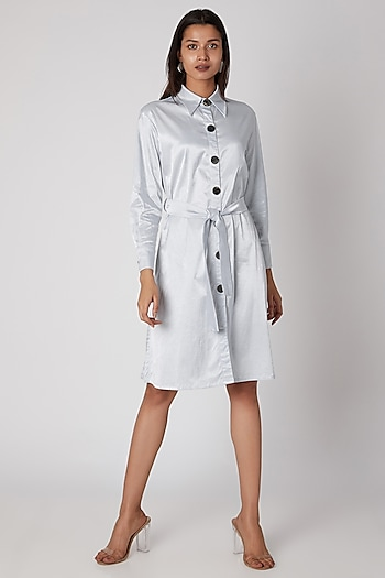 Sky Blue Silk Viscose Buttoned Dress by Meadow