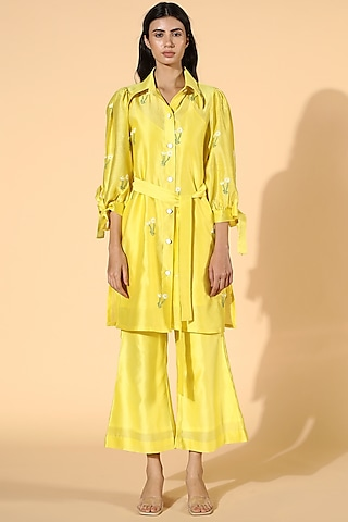 Yellow Embroidered Tunic Set by Meadow