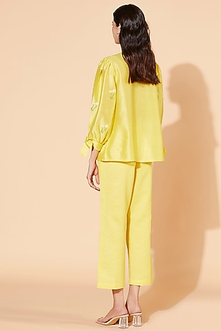 Yellow Embroidered Pant Set by Meadow