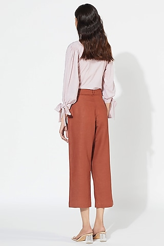 Rust Cotton Linen Embroidered Pants by Meadow