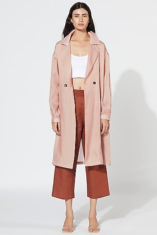 Pastel Pink Coat With Belt by Meadow