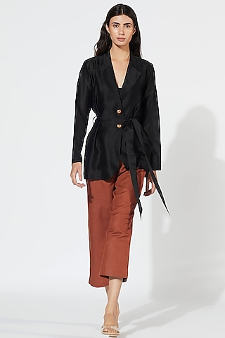 Black Jacket With Wooden Buttons by Meadow