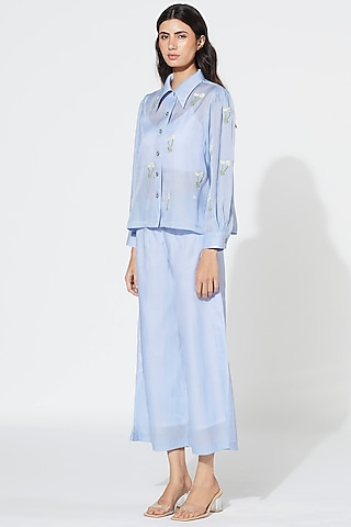 Prairie Blue Embroidered Pant Set by Meadow