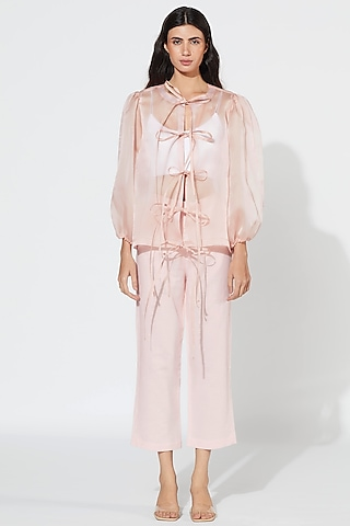 Blush Pink Straight Cut Pants by Meadow