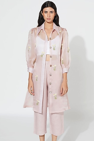 Violet Floral Embroidered Coat by Meadow