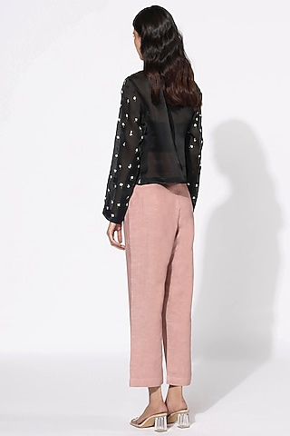 Black & Blush Pink Embroidered Jacket Set by Meadow