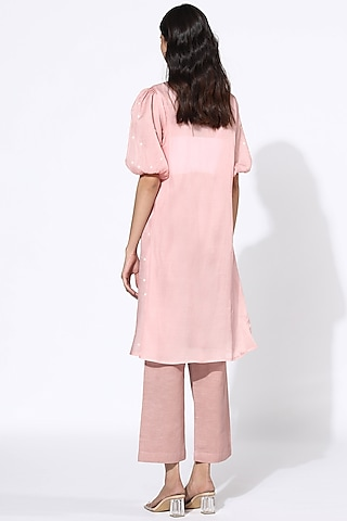 Blush Pink Embroidered Dress by Meadow