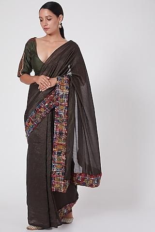 Dark Green Handwoven Silk Blouse by Medha
