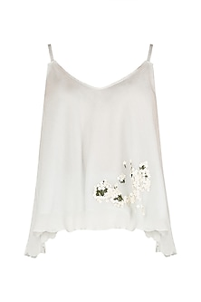 White Embroidered Top by Meadow