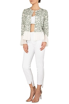 Green and White Front Open Jacket by Meadow