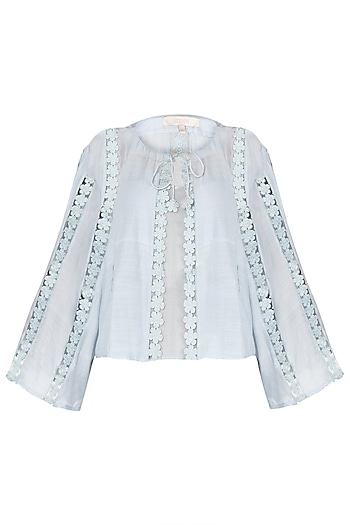 Sky Powder Blue Lace Jacket by Meadow