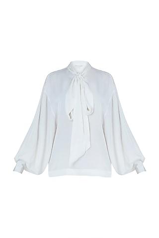 Eden white neck tie top by Meadow