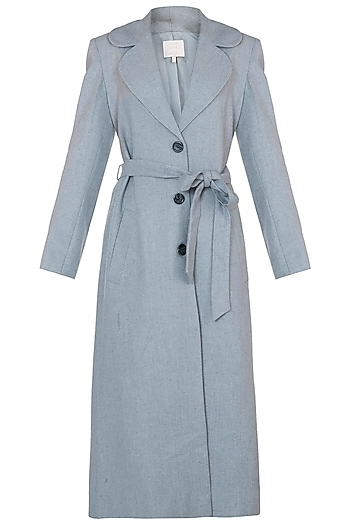Dusty blue tweed coat by Meadow