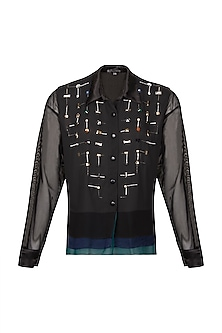 Black Embroidered Shirt by Gavin Miguel