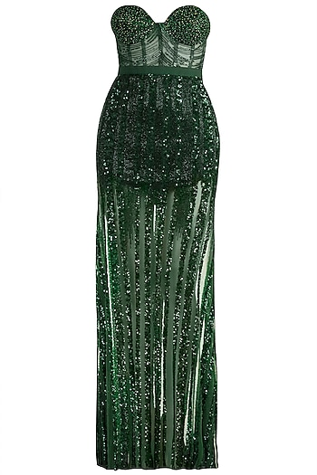 Emerald Green Embellished Gown by Gavin Miguel