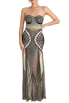 Mint Green Embellished Gown by Gavin Miguel